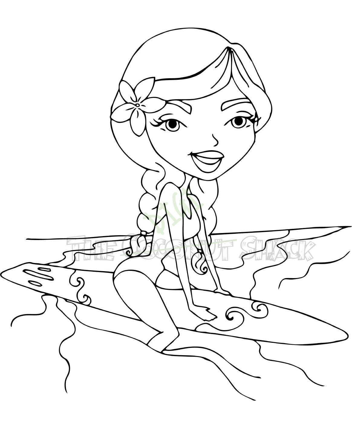 This is a picture of Delicate Surfing Coloring Pages